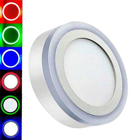 Luminária Plafon Neon Led Sobrepor Redondo RGB 18+6