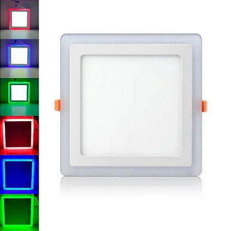 Luminária Plafon Neon Led Embutir Quadrado Borda RGB 18+6W