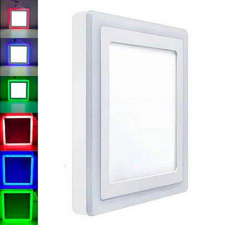 Luminária Plafon Neon Led Embutir Quadrado RGB 18+6