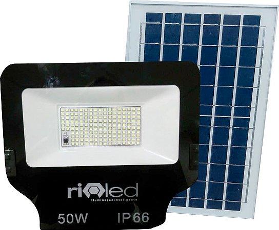 Refletor Placa Solar Led 50w Controle Remoto Branco Frio