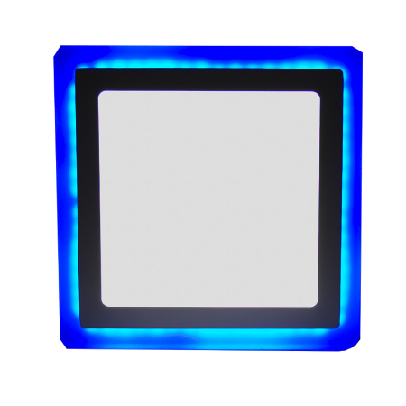 Luminária Plafon Neon Led Embutir Quadrado Borda Azul 18+6W