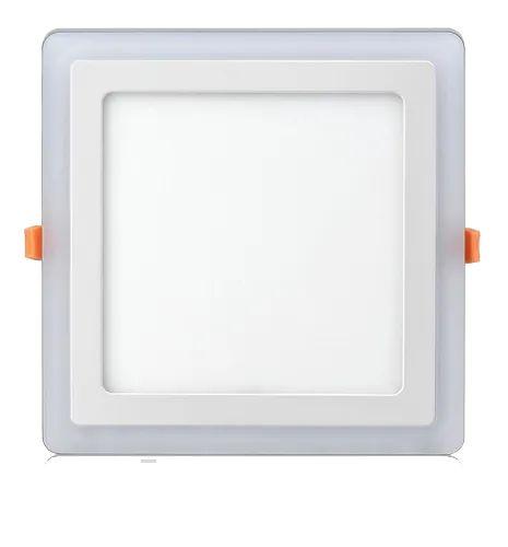 Luminária Plafon Neon Led Embutir Quadrado Borda Azul 6+3W