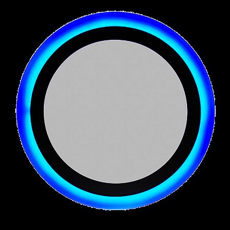 Luminária Plafon Neon Led Embutir Redondo Borda Azul 18+6W