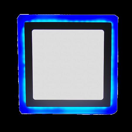 Luminária Plafon Neon Led Sobrepor Quadrado Azul 18+6W