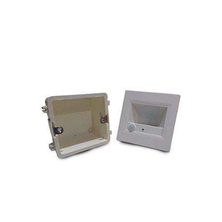 Balizador Led Escada Sensor De Presença Embutir 1,5w Branco Frio
