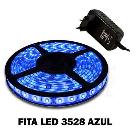 Fita Led 3528 2835 silicone 12v Fonte 1A  IP65 Azul Kit