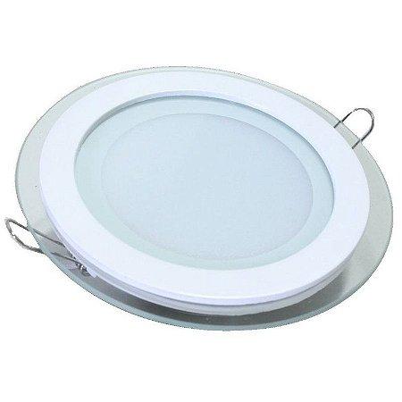 Luminária Plafon Led  embutir redonda Borda Vidro - 12w BF