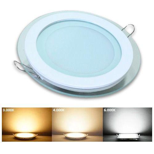 Luminária Plafon Led embutir redonda borda de Vidro 12w - 3 cores