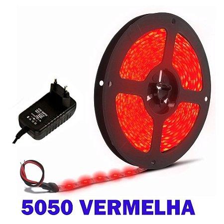Fita Led 5050 silicone 12v + Fonte 2A IP65 Vermelha