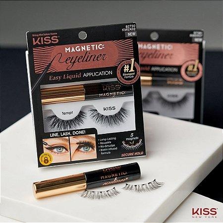 Cilios e Delineador Magnético Kit Kiss NY KMEK02