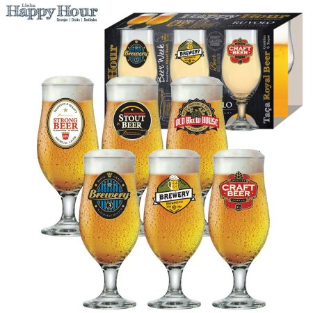 Conj Taca Cerveja Ruvolo Royal Beer 6pc