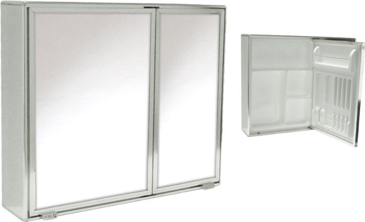 Armário Banheiro Steel alumínio 2 portas c/ espelho ref 4840