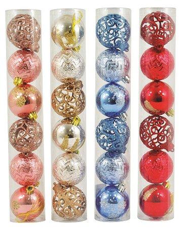 Kit bolinhas de natal com 6 unidades tamanho 6cm NTB85501