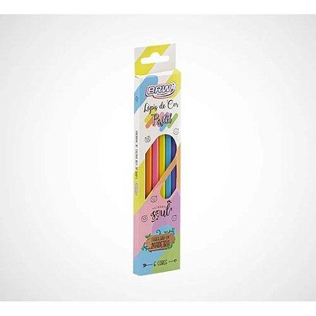 Lápis de cor 6 cores tom pastel sextavado - BRW