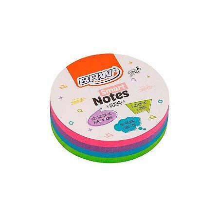 Smart Notes 70x70mm Round Brw Neon *200fls