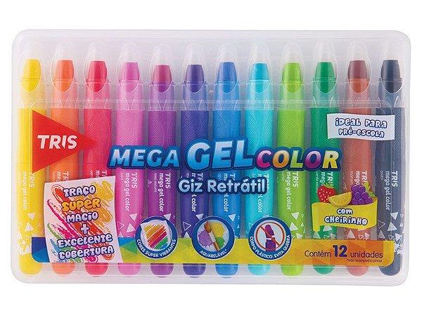 Giz de Cera Retrátil TRIS Mega Gel Color 12 Cores