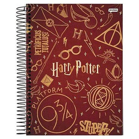 Caderno universitário Harry Potter Jandaia 96fls *c/ adesivos