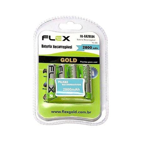 Pilha Recarregável 2800 mAh FlexGold FX-AA28LB4