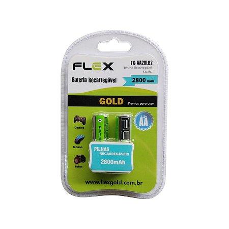 Pilha Recarregável 2800 mAh FlexGold FX-AA28LB2