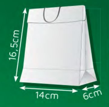 Sacola de Papel DP - (LxAxP) 14 x 16,5 x 6 cm com aba de fechamento