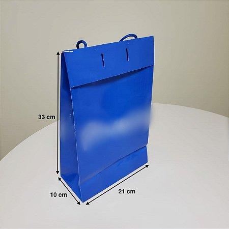 Sacola de Papel - (LxAxP) 21 x 33 x 10 cm com aba de fechamento