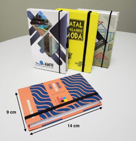 Caderneta Tipo Moleskine Pequena Personalizado 9 x 14 cm