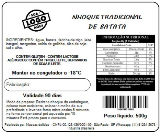 Impressão de Rótulo para alimentos CONGELADOS - TAM 10X15