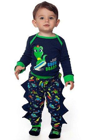 Pijama Body Manga Longa + Calça Dino Puket