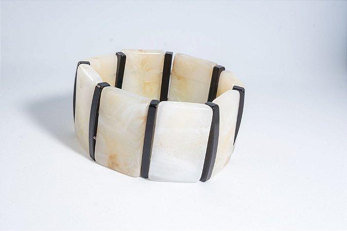 Pulseira resina - off white e preta