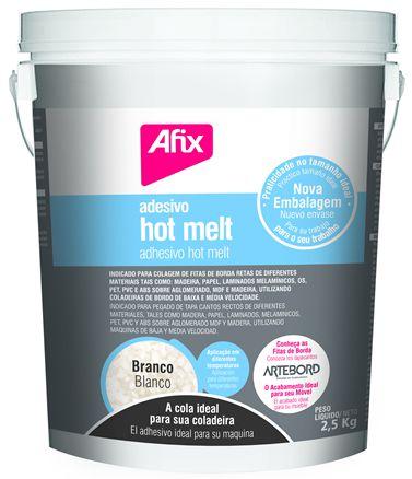 Adesivo Hot Melt Afix Branco 1824 para Coladeira de Bordas - Balde 2,5kg