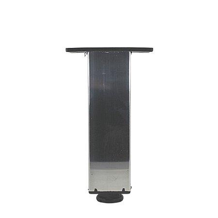 Pé Alumínio Quadrado com regulagem Cromado 15cm