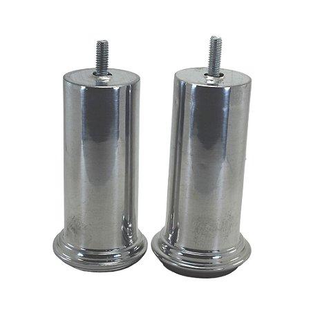 Pé Alumínio Cilíndrico Polido para móveis 10cm - 2 Peças