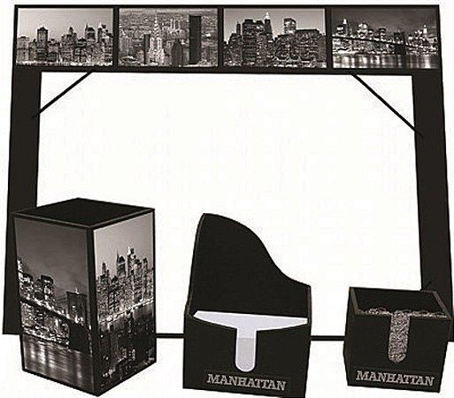 KIT OFFICE MANHATTAN (1 RISQUE RABISQUE, PORTA LAPIS, PORTA CLIPS, PORTA BLOQUINHO)