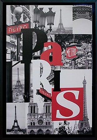 TELA DE CANVAS COM MOLDURA WORD PARIS