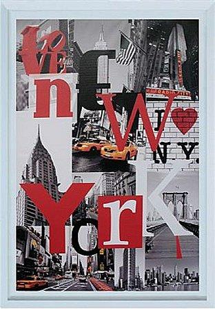 TELA DE CANVAS COM MOLDURA WORD NEW YORK