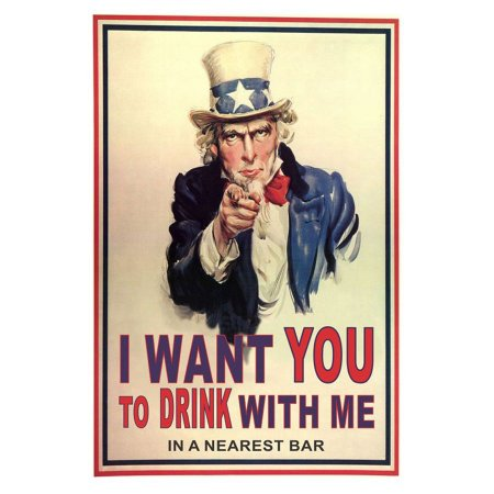 PLACA I WANT YOU TO DRINK WITH ME 20X30CM