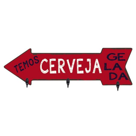 PORTA-CHAVES TEMOS CERVEJA 14X30CM