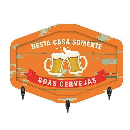 PORTA-CHAVES NESTA CASA SOMENTE BOAS CERVEJAS 20X28CM