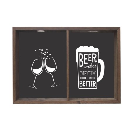 QUADRO DUPLO PORTA-ROLHAS E TAMPINHAS BEER MAKES EVERYTHING 38X53CM