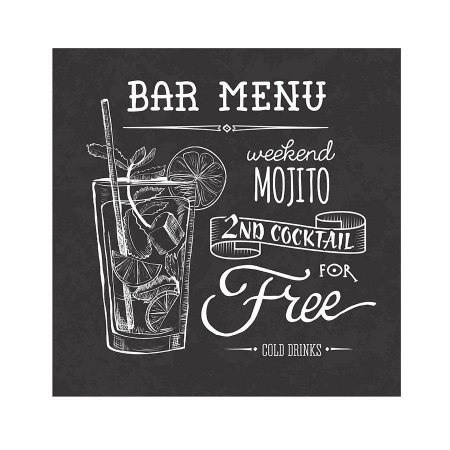 PLACA BAR MENU MOJITO 25X25CM