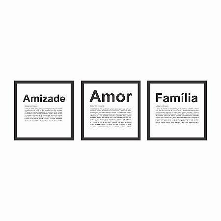 KIT DE QUADROS C/VIDRO AMIZADE, AMOR E FAMÍLIA, 27X27CM