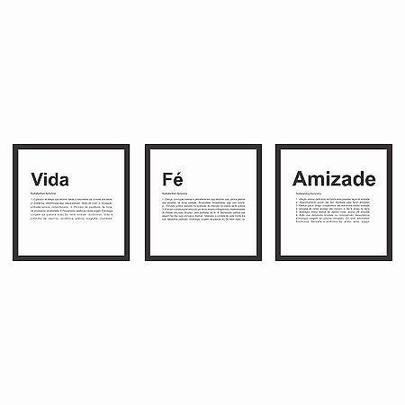 KIT COM 3 QUADROS C/VIDRO  DECORATIVOS VIDA, FÉ E AMIZADE