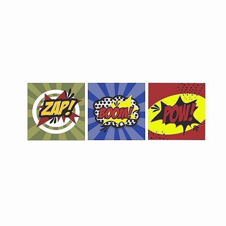 KIT COM 3 PLACAS DECORATIVAS ZAP! BOOM! POW!