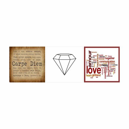 KIT COM 3 PLACAS DECORATIVAS CARPE DIEM,  AMOR E DIAMANTE