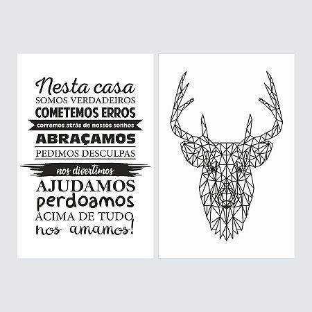 KIT COM 2 PLACAS DECORATIVAS NESTA CASA, DEER