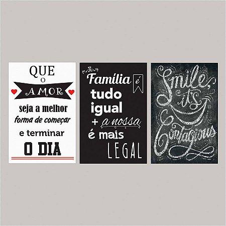 KIT COM 3 PLACAS DECORATIVAS QUE O AMOR, FAMÍLIA E SMILE
