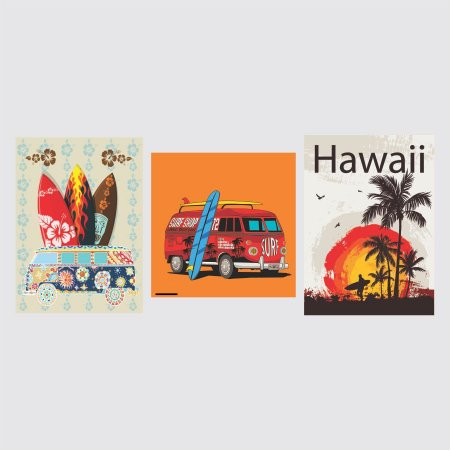 KIT COM 3 PLACAS DECORATIVAS HAWAII SURFING