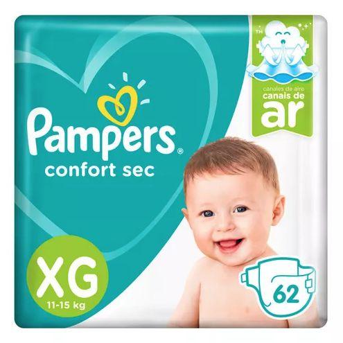 Fralda Pampers Confort Sec Giga Tamanho XG 62 Unidades