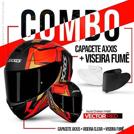 COMBO AXXIS DRAKEN VECTOR MATT BLACK RED GOLD E VISEIRA FUME