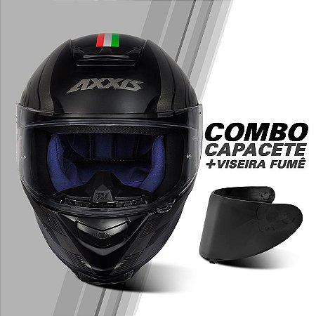 COMBO CAPACETE AXXIS EAGLE ITALY MATT BLACK/GREY E VISEIRA FUMÊ V18
